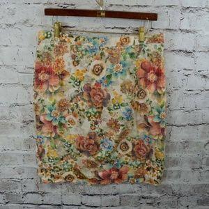 Zara Basic Floral Print Pencil Skirt L